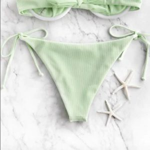 NWOT ZAFUL Frilled Textured Tie Bikini Bottom